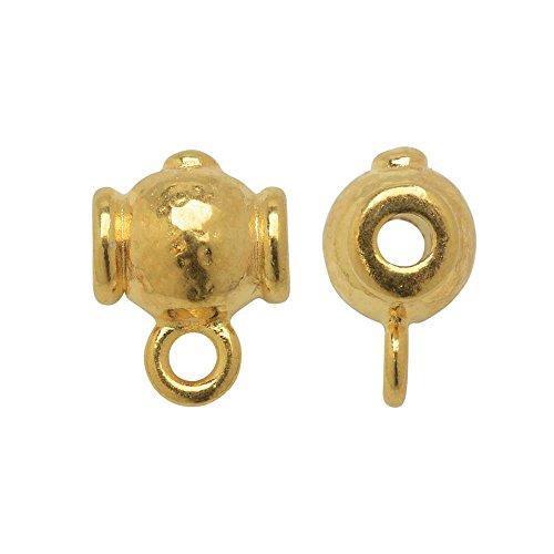 (TierraCast Guru Bead, Hammered Round 9.5x13mm, 2 Pieces, Bright Gold Plated)
