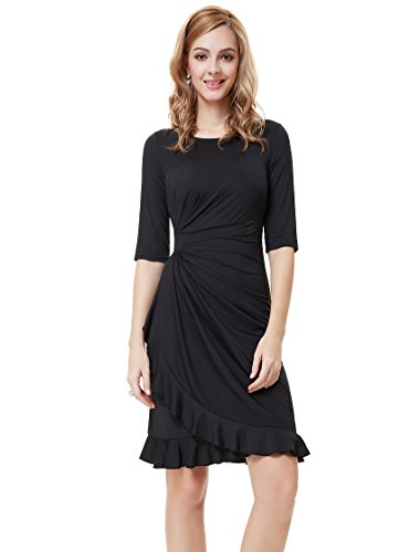 Ever Pretty Womens Long Sleeve Ruched Cocktail Party Dress 8 US Black