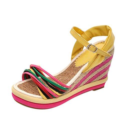 Lvguang Femme Sandales Compensées Talon Compensé Chaussures Tongs Sandales Talons Hauts Peep-Toe Basses Jaune L5V5AUkN1t