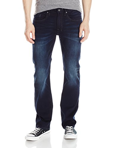 Blue Straight Leg Button (Buffalo David Bitton Men's Six Slim Straight Leg Jean, Authentic and Deep Indigo, 30 x 32)