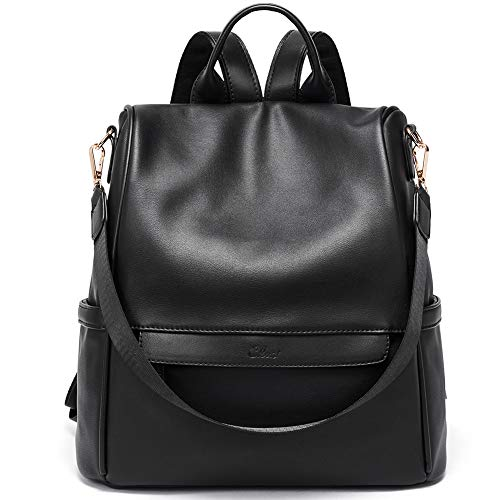 Triple Bag Compartment Laptop Leather - Women Backpack Purse Fashion Leather Large Travel Bag Ladies Shoulder Bags Black
