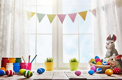 RBabyPhoto Happy Easter Backdrop 7X5FT Bunny Resurrection of Jesus Painted Eggs Hunt Banner Retro Window Wood Floor Spring Frohe Ostern Photography Background for Kids Photo Studio Props Vinyl CK432
