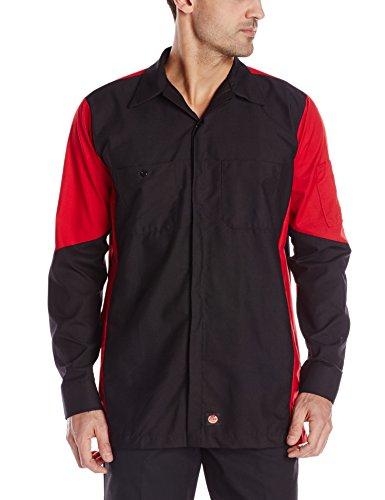 (Red Kap Men's Crew Shirt, Black/Red, Medium)