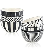 Porcelain Dessert Bowls Cereal Bowl 13 oz - Ceramic Bowl Set of 6 - Japanese Small Bowls for Ice Cream   Soup   Cereal   Rice   Snack   Side Dish   Microwave and Dishwasher Safe - 4.5 Inch