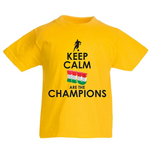 fan products of N4488K Kids T-Shirt Hungarians Are The Champions ! (3-4 Years Yellow Multicolor)
