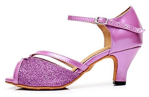 Tda Cm106 Donna Cinturino Alla Caviglia Raso Latino Moderno Samba Rumba Scarpe Da Ballo Da Sposa 6 Cm Viola
