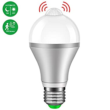 Last Deal Motion Sensor Light Bulb 9W Smart PIR LED Bulb, Motion Activated Auto On/Off Night Lights for Stairs, Garage, Corridor, Walkway, Yard, Hallway, Patio, Carport (E26/E27,800lumen,Cold White)