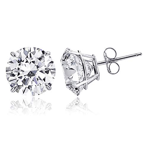14K Solid White Gold Minimalist Round-Cut Solitaire Cubic Zirconia Stud Post Earrings, 4 MM (0.25 CTW) ()