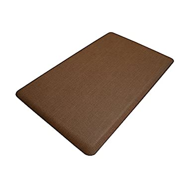 """NewLife by GelPro Anti-Fatigue Designer Comfort Kitchen Floor Mat, 18x30"""", Modern Grasscloth Java Stain Resistant Surface with 5/8"""" thick ergo-foam core for health and wellness"""