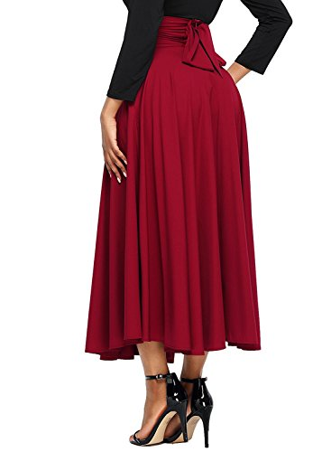 - Asvivid Women's Summer Casaul Fold Over Waist Long Maxi Skirt with Pockets Large Red