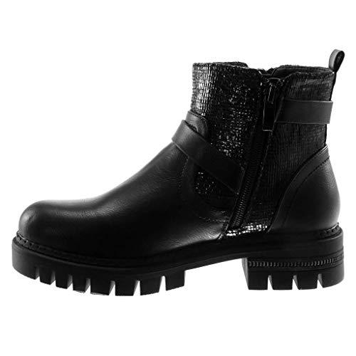 Schwarz Blockabsatz Reißverschluss Schuhe Biker Heel Stiefeletten Tanga cm Damen 5 high String Plateauschuhe Schleife 4 Angkorly Metallischen axfwBqzav