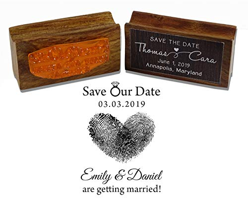 Printtoo Save Our Date Custom Thumbprint Heart Design Wedding Invitation Wood Mounted Rubber Stamp