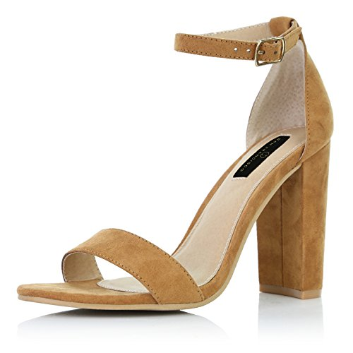 DailyShoes Women's Chunky Stacked Heel Sandal Open Toe Classic Wedding Pumps with Buckle Ankle Strap Casual Sandals Shoes, Camel Suede, 10 B(M) US