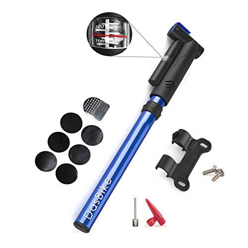 DasBike Portable Mini Bike Pump with Pressure Gauge, Aluminum Alloy, Presta & Schrader Compatible, Frame Mount Bicycle Pump, Glueless Repair Kit, Ballons and Sport Balls.