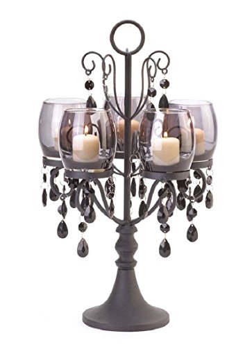 MIDNIGHT ELEGANCE CANDELABRA VOTIVE CANDLEHOLDER CENTERPIECE DECOR,NEW