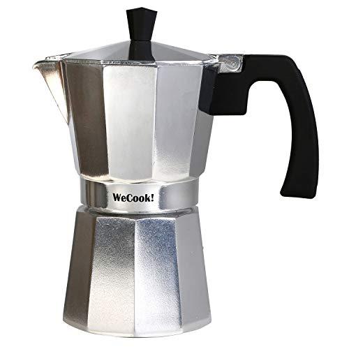 Wecook Paola Cafetera Italiana de aluminio express, 3 tazas café, junta de cierre de silicona, válvula de seguridad…