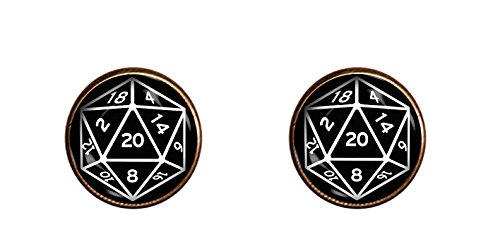 CHAOTICFASHION 20 Sided Dice Cuff Links Handmade D&D Jewelry Pendant Charm Gifts