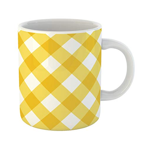 Emvency Funny Coffee Mug Orange Country Plaid Yellow Gingham Abstract Breakfast Check Checkered Classic Color 11 Oz Ceramic Coffee Mug Tea Cup Best Gift Or Souvenir for $<!--$16.99-->