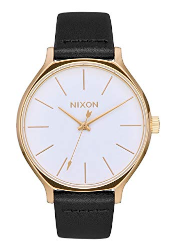 NIXON Clique Leather A1251 - Gold/White/Black - 51M Water Resistant Women's Analog Classic Watch (38mm Watch Face, 17mm-15mm Leather Band)