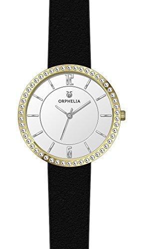 ORPHELIA Crystal Black Leather Strap-OR11722