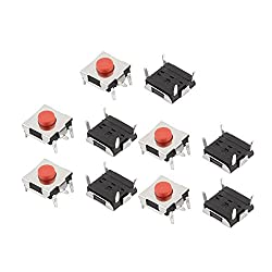 uxcell 10Pcs 6mmx6mmx3.1mm Panel PCB Momentary Tactile Tact Push Button Switch 4 Pin DIP