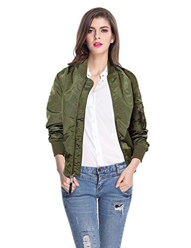 Bomber Quilted Jacket Nylon (Cekaso Women's Bomber Jacket Zip Up Fitted Short Lightweight Padded Flight Jacket, Army Green, TagsizeXL=USsizeL)