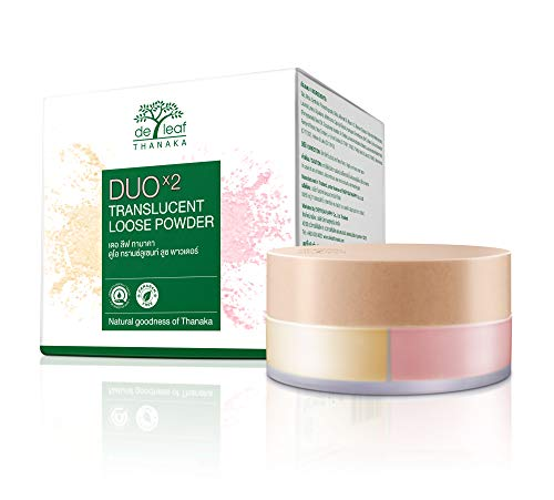 DE LEAF THANAKA Duo Translucent Loose Powder, Oil Control Paraben Fragrance Free Natural Ingredient Clean Foundation Brightening Matte Makeup Face Setting, 15 g Light Yellow Beige and Pink Pomegranate