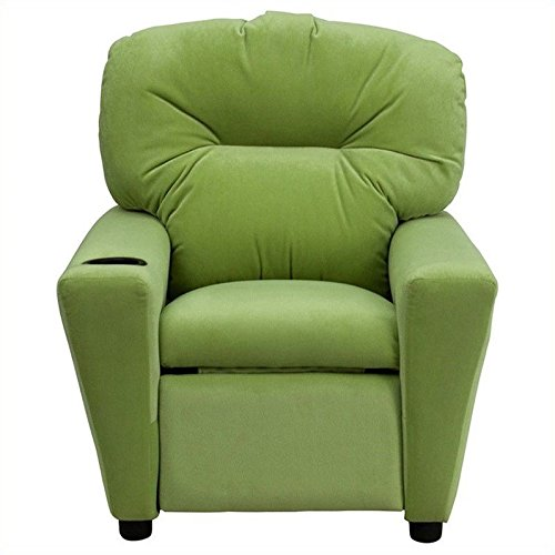 Flash Furniture Contemporary Avocado Microfiber Kids Recliner with Cup Holder - Green Microfiber Ottoman