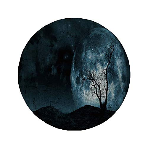 Non-Slip Rubber Round Mouse Pad,Fantasy,Night Moon Sky with Tree Silhouette Gothic Halloween Colors Scary Artsy Background,Slate Blue,7.87