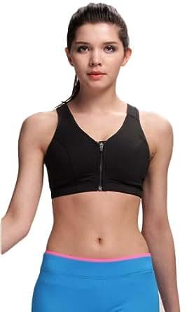 DREAMY Women's Control Sport Bra Zip-Front Tech Bra S Black