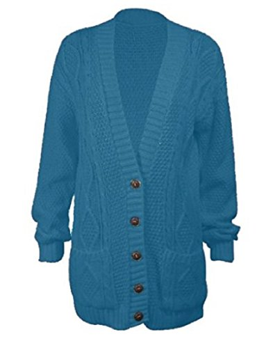 OgLuxe Women's Long Sleeve Cable Knit Cardigan (L/XL (UK 16-18 EU 44-46 US 12-14), ()