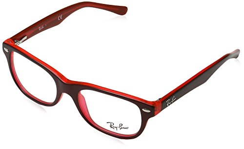 Ray-Ban RY 1555 3664 Red On Fluorescent Red Plastic Rectangle Eyeglasses - Pictures Ray Ban