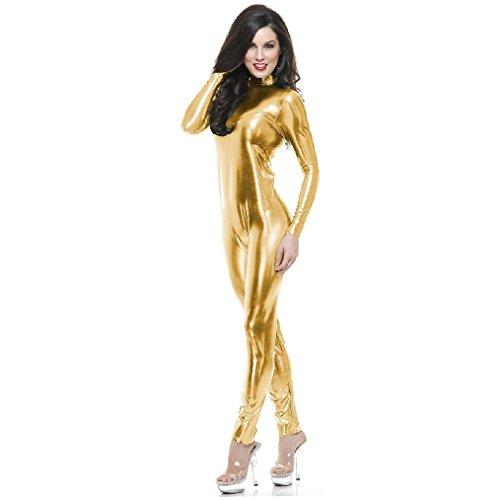 OvedcRay Adult Metallic Metal Unitard Gold Red Catsuit 2Nd Skin Costume Zentai Jumpsuit -