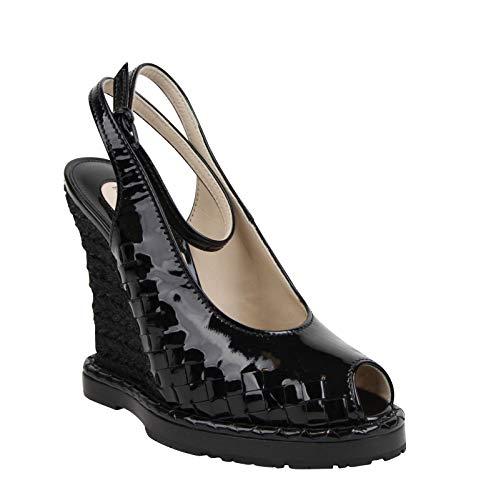 Bottega Veneta Women's Black Patent Leather Straw Wedge Slingbacks 465179 VADW1 1000 (39 EU / 9 US)