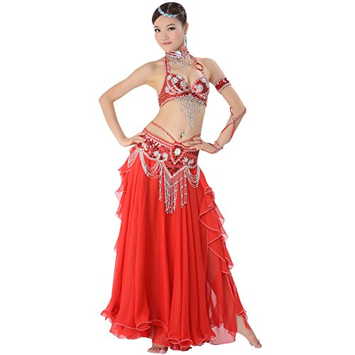 GUILTY BEAUTY Belly Dance Costume Outfit Bra Belt Skirt 3pcs Set with Beads Sequins Red ()