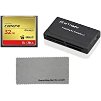 SanDisk Extreme 32GB CompactFlash CF Memory Card for Nikon D300, D300S, D810, Digital DSLR Cameras HD UDMA 7 (SDCFXSB-032G-G46) with Everything But Stromboli Combo Microfiber Cloth and Combo Reader