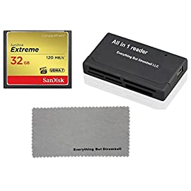 SanDisk Extreme 32GB CompactFlash CF Memory Card for Nikon D300, D300S, D810, Digital DSLR Cameras HD UDMA 7 (SDCFXSB… 1 Bundle includes (x1) 32GB CF Extreme SanDisk, (x1) Everything But Stromboli Microfiber Cloth, (x1) Combo Memory Card Reader (Color May Vary) - Includes CF, SD, Micro SD, M2, and MS, MSPD slots for easy transfer Compatible with Nikon D300, D300S, D810, D5 (CF Version) Digital DSLR Camera Professional-Grade Video Capture - VPG-20 ensures sustained data recording rate of 20MB/s for a smooth and unbroken video stream