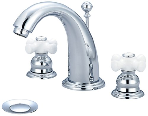 Pioneer 3BR420 Two Handle Lavatory Widespread Faucet, PVD Polished Chrome Finish (Widespread Lav Faucet Polished Brass)