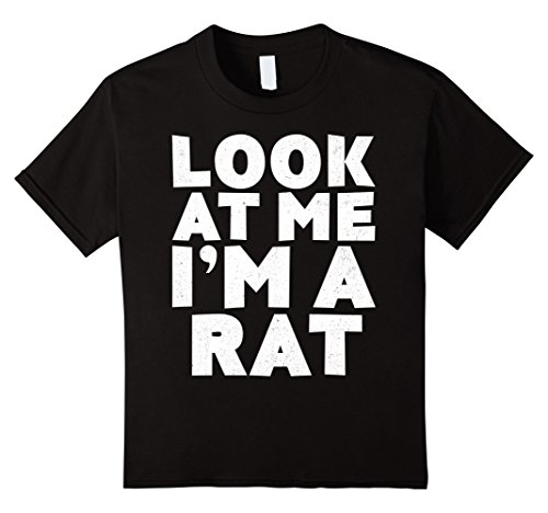 Rat Ears And Tail Costume (Kids Look At Me I'm A Rat T-Shirt Halloween Costume Shirt 12 Black)
