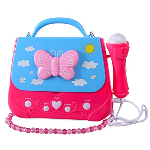 XSHION Karaoke Machine for Girl,Children Portable Musical Bag Karaoke Machine Toys with Microphone Karaoke Player Connect MP3 Smartphone - Butterfly by XSHION (Image #9)