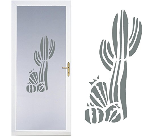 Cactus Western- DIY Etched Glass Vinyl- Window Film Privacy- Shower Door- Bathroom Decals- Front Door -Window Dressing- Etched Glass Decal