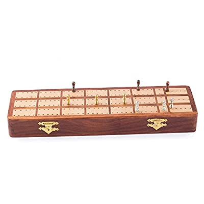 StarZebra Wooden Cabinet Cribbage Handmade with Continuous 3 Track Board with Quality Metal Pegs and Storage Area