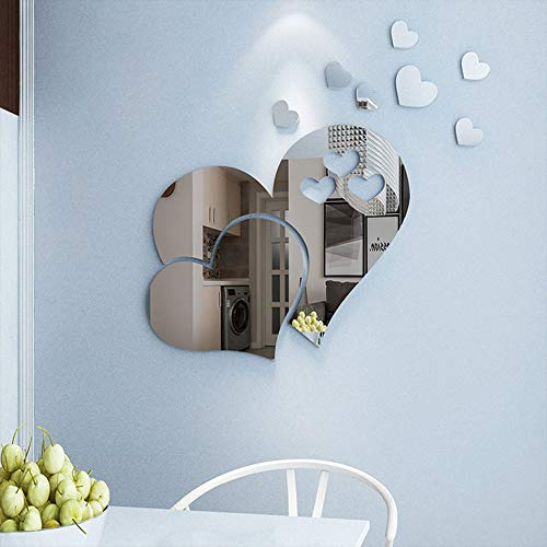 CCINEE 23pcs Heart Shape Mirror Wall Sticker 3D Art Wall Decal Removable Mirror Wall Sticker for St. Valentine's Day Home ()