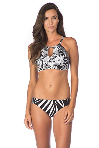 La Blanca Women's Sevilla Scarf High Neck Bikini Top (D+ Cup) Black/White 36DD