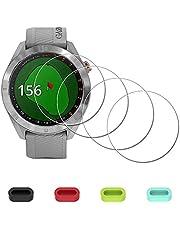 Displaybescherming beschermfolie voor Garmin Approach S40 S60 watch + 4-delige bescherming voor oplaadaansluiting, iDaPro 9H hardheid, gehard glas, displaybeschermfolie, eenvoudige installatie, 4 stuks