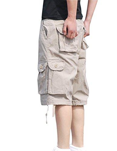 Menschwear Hombres Bermuda Cortos Pantalones Cargo Verano Cortos Deporte Shorts Playa Cortos Multi-bolsillo con cinturón (36,Cream)