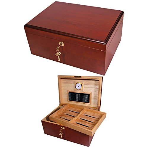 $64.95 cuban crafters humidor Cuban Crafters Clasico Rojo Cherrywood Cigar Humidor for 100 Cigars 2019