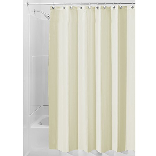 InterDesign Fabric Shower Curtain, Modern Mildew-Resistant Bath Liner for Master Bathroom, Kid's Bathroom, Guest Bathroom, 72 x 72 Inches, Tan