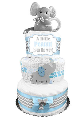 Elephant Diaper Cake - Little Peanut - Boy Baby Shower Gift - Blue and Gray -