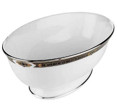 Lenox Vintage Jewel Platinum-Banded Bone China Open Vegetable Bowl